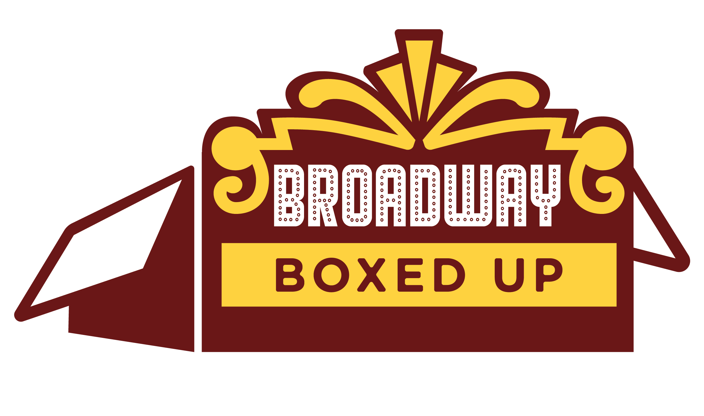 """A red cardboard box with the front mimicking a Broadway marquee with the words """"Broadway Boxed Up"""" writting on the front"""