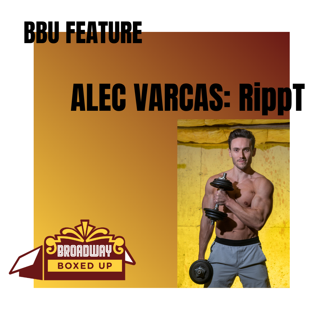 """Photo of Alec Varcas holding dumb bell with text """"B B U Feature. Alec Varcas. Get RippT"""""""